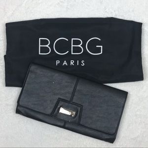 BCBG Black Faux Leather Clutch w/Metallic Flakes